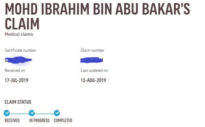 Claim status di website AIA